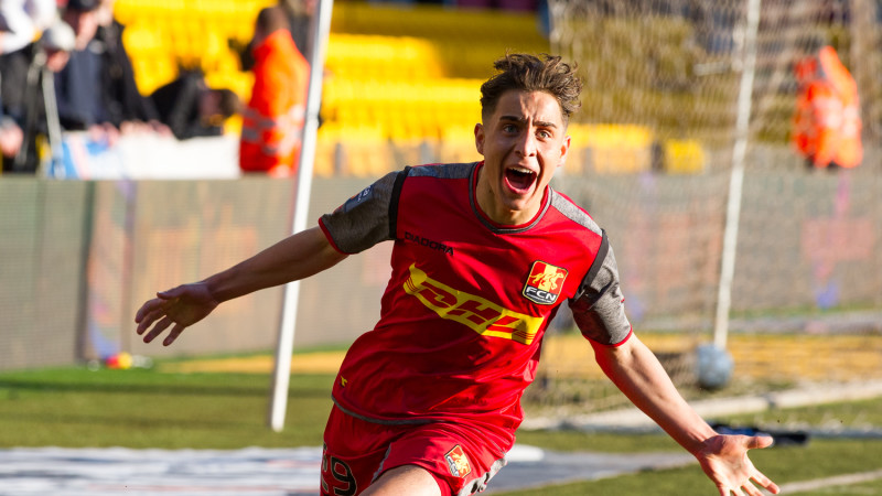 Emre Mor celebrates his goal; photo: Boesenfoto.dk